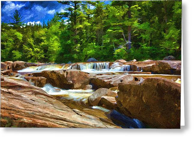 Grand Memories Greeting Cards - The Swift River Beside the Kancamagus Scenic Byway in New Hampshire Greeting Card by John Haldane
