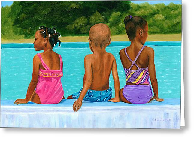 African Heritage Greeting Cards - The Swim Lesson Greeting Card by Jill Ciccone Pike