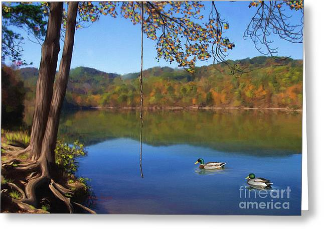 The Swimming Hole Greeting Card by Lena Auxier