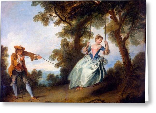 Pastimes Greeting Cards - The Swing, 1730 Greeting Card by Nicolas Lancret