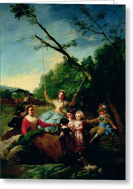 Merriment Greeting Cards - The Swing Greeting Card by Francisco Jose de Goya y Lucientes