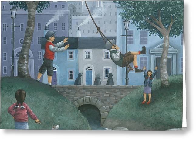 The Houses Greeting Cards - The Swing Greeting Card by Peter Adderley
