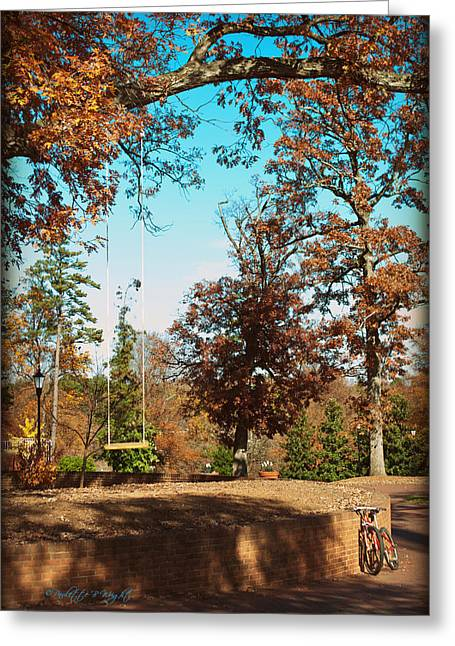 Nature Study Digital Art Greeting Cards - The Swing With Red Bicycle - Davidson College Greeting Card by Paulette B Wright