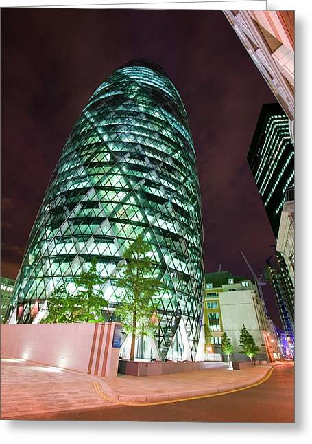 The Swiss Re Tower At Night Greeting Card by Ashley Cooper
