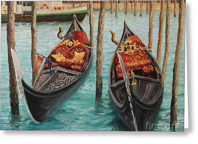 Water Vessels Greeting Cards - The Symbols of Venice Greeting Card by Kiril Stanchev
