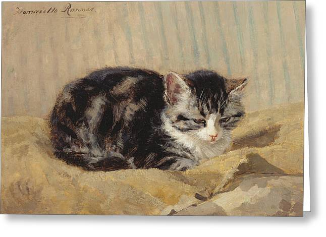 Small Cats Greeting Cards - The Tabby Greeting Card by Henriette Ronner-Knip