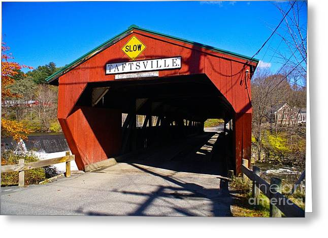 The Taftsville Covered Bridge.  Greeting Card by New England Photography