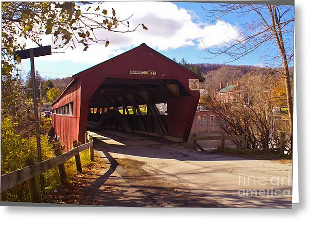 The Taftsville Covered Bridge. Greeting Card by Stan Amster