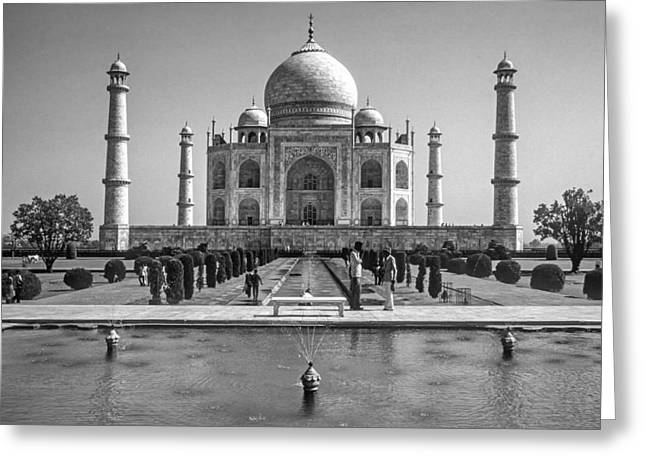 World Wonder Greeting Cards - The Taj Mahal monochrome Greeting Card by Steve Harrington