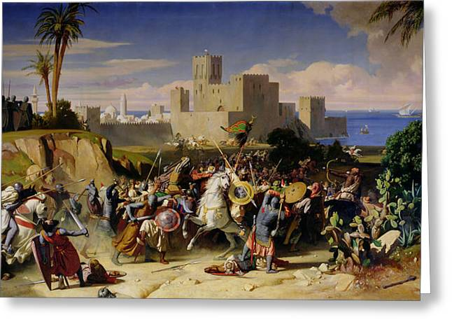 Knights Castle Paintings Greeting Cards - The Taking of Beirut by the Crusaders Greeting Card by Alexandre Jean Baptiste Hesse
