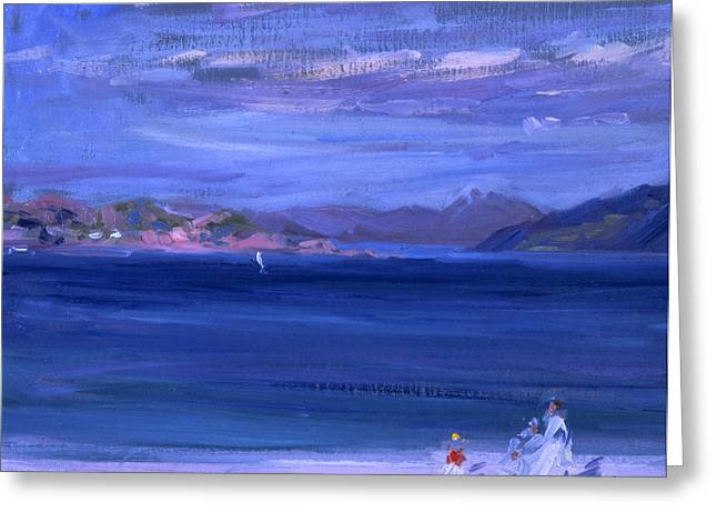 Blue Sky And Sand Greeting Cards - The Tale of Mull from Iona Greeting Card by Francis Campbell Boileau Cadell