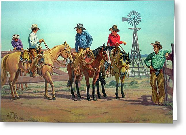Arizona Cowboy Greeting Cards - The Tale Spinner Greeting Card by Randy Follis