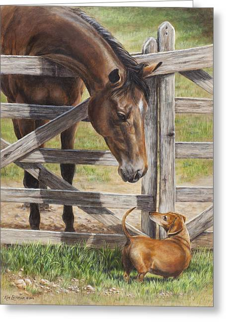 Doxie Greeting Cards - The Tall and Short of It Greeting Card by Kim Lockman