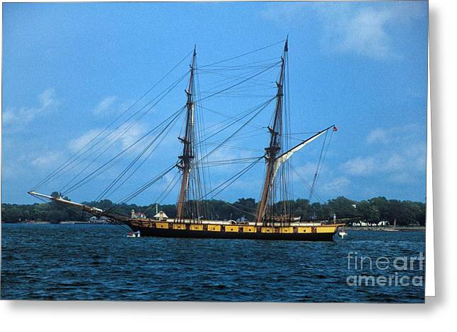In 1812 Greeting Cards - The Tall Ship Niagara Leaving Put-inBay Harbor Greeting Card by John Harmon