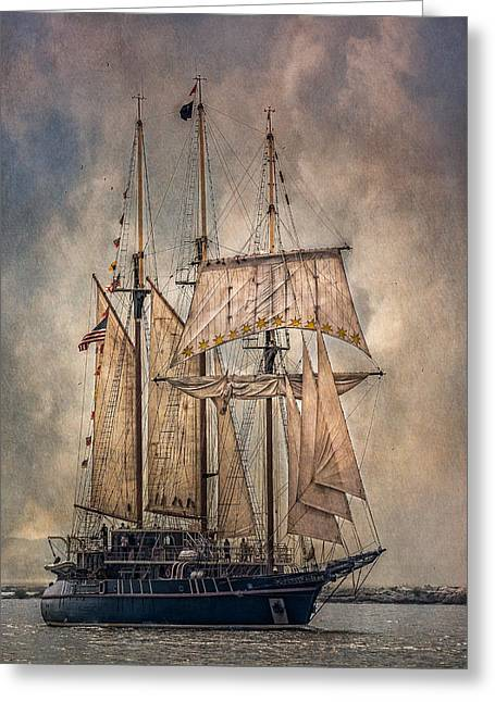 Wooden Ship Photographs Greeting Cards - The Tall Ship Peacemaker Greeting Card by Dale Kincaid