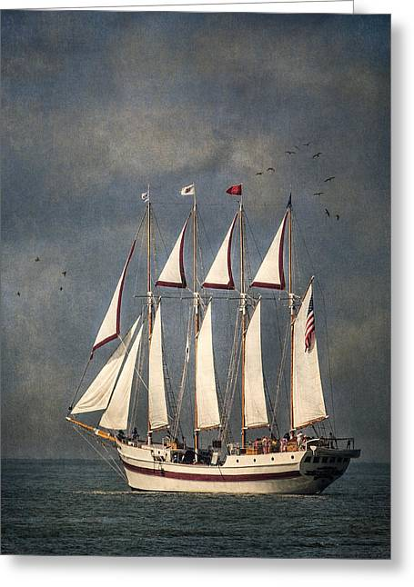 Pirate Ship Greeting Cards - The Tall Ship Windy Greeting Card by Dale Kincaid