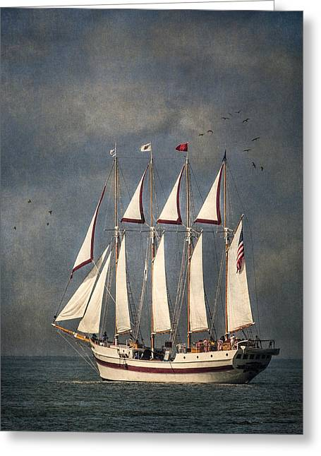 The Tall Ship Windy Greeting Card by Dale Kincaid