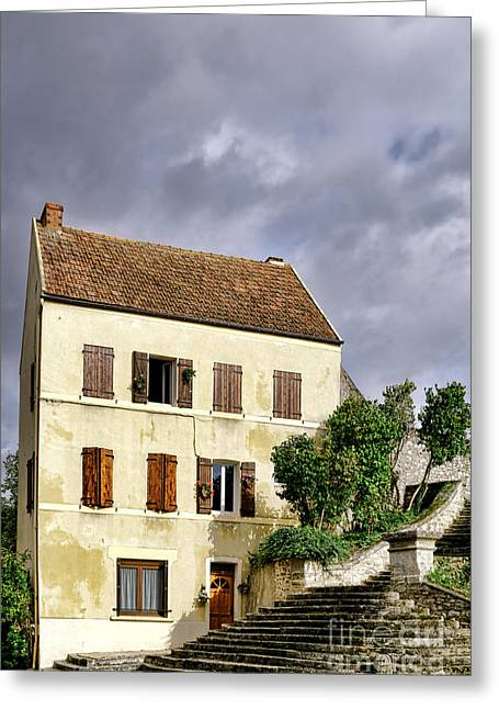 Stucco Greeting Cards - The Tall Yellow House by the Old Stairway Greeting Card by Olivier Le Queinec