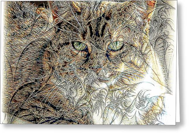 The Tapestry Cat Greeting Card by Kathleen Struckle