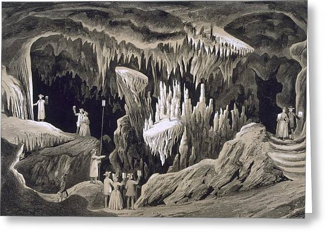 Rocks Drawings Greeting Cards - The Tapestry Room, Weyers Cave, Augusta Greeting Card by Edward Beyer