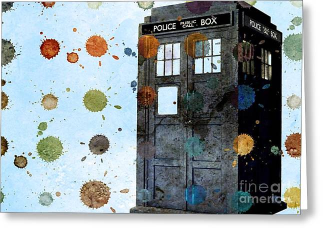 Eleventh Doctor Greeting Cards - The Tardis I Greeting Card by Angelica Smith Bill
