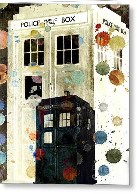Eleventh Doctor Greeting Cards - The Tardis II Greeting Card by Angelica Smith Bill