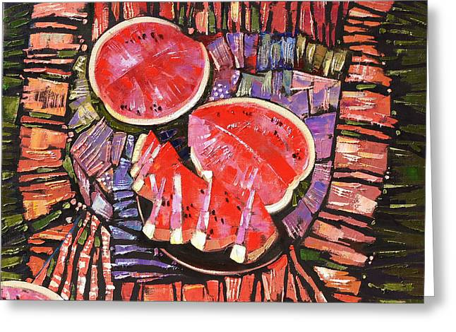 Watermelon Greeting Cards - The taste of summer. Greeting Card by Anastasija Kraineva