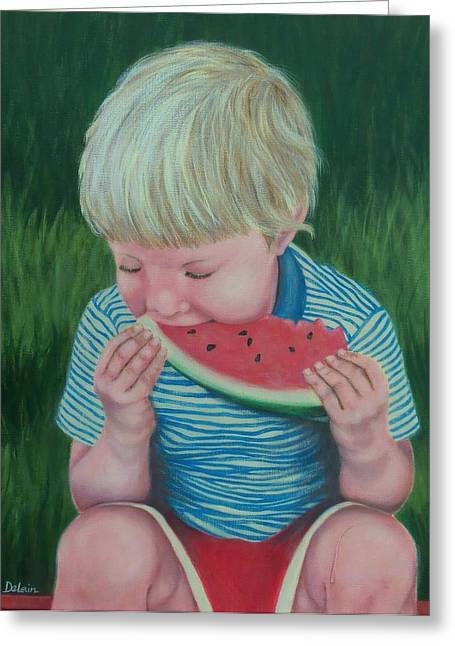 Watermelon Greeting Cards - The Taste of Summer Greeting Card by Susan DeLain