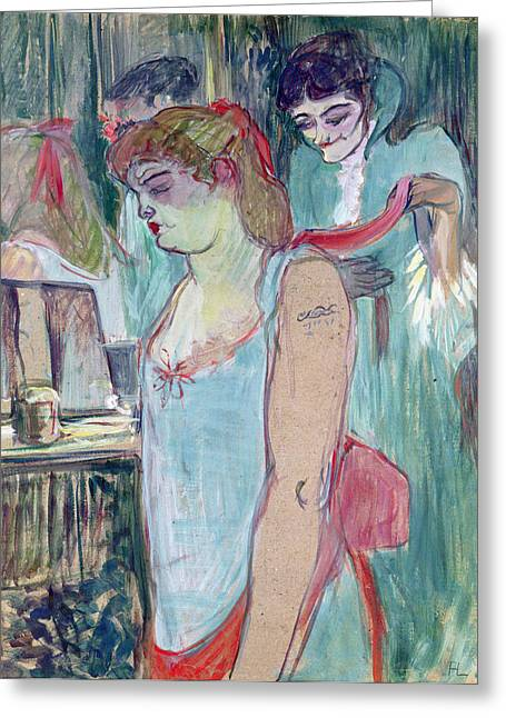 Tattoo Greeting Cards - The Tattooed Woman Or The Toilet, 1894 Oil On Card Greeting Card by Henri de Toulouse-Lautrec