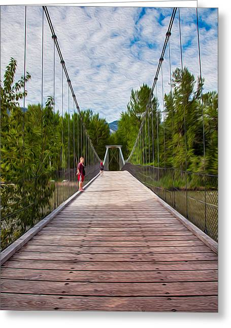 Okanogan National Forest Mixed Media Greeting Cards - The Tawkes Foster Suspension Bridge Greeting Card by Omaste Witkowski