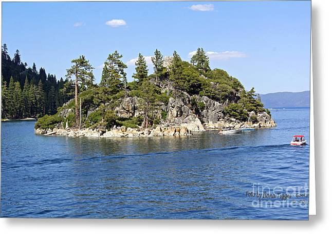Tea Shirts Greeting Cards - The Tea House - Lake Tahoe-vikingsholm - Fannette Island Greeting Card by  ILONA ANITA TIGGES - GOETZE  ART and Photography