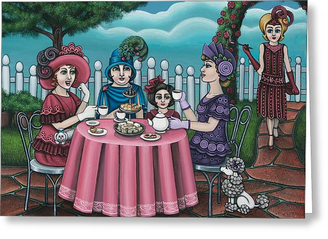 Tea Party Greeting Cards - The Tea Party Greeting Card by Victoria De Almeida