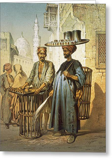 Minaret Greeting Cards - The Tea Seller Greeting Card by Amadeo Preziosi