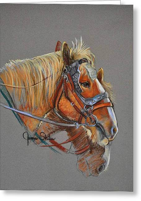 Equine Pastels Pastels Greeting Cards - The Team Greeting Card by James Skiles