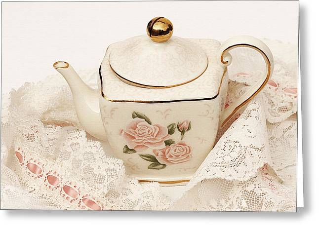 Tea For Two Greeting Cards - The Teapot Greeting Card by Art Block Collections