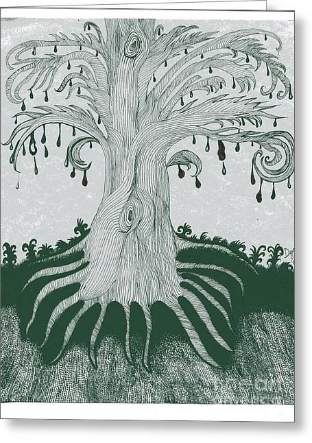 Tree Roots Drawings Greeting Cards - The Tearing Tree Greeting Card by Dyana Schoenstadt