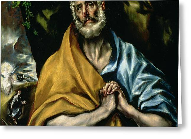 The Tears of St Peter Greeting Card by El Greco Domenico Theotocopuli