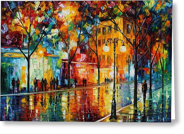 Abstract Rain Greeting Cards - The Tears Of The Fall - Palette Knife Oil Painting On Canvas By Leonid Afremov Greeting Card by Leonid Afremov
