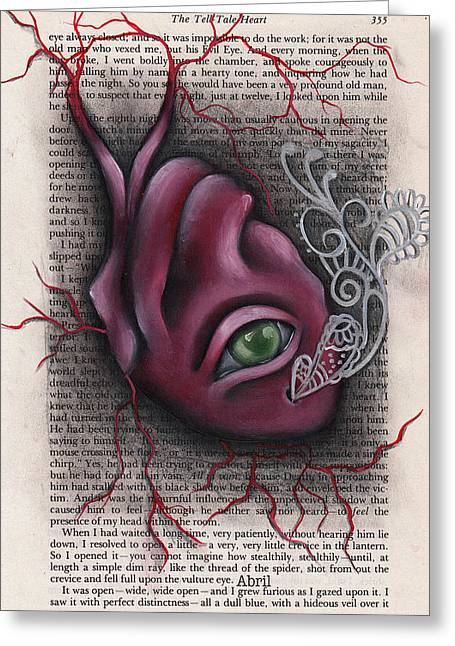 Edgar Allan Poe Greeting Cards - The Tell Tale Heart Greeting Card by  Abril Andrade Griffith