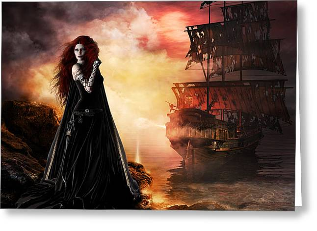 Red-haired Women Greeting Cards - The Tempest Greeting Card by Shanina Conway