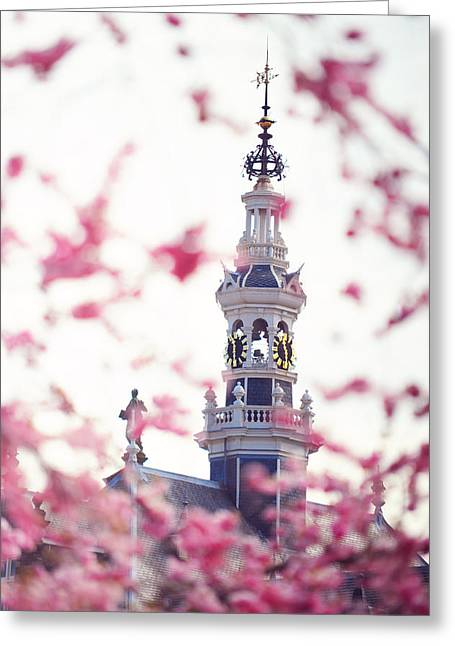 Watch Tower Greeting Cards - The Temple Bell Dies Away 1. Pink Spring in Amsterdam Greeting Card by Jenny Rainbow