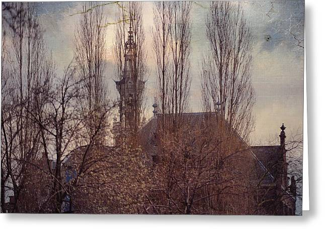 The Temple Bell Dies Away 2. Pink Spring In Amsterdam Greeting Card by Jenny Rainbow