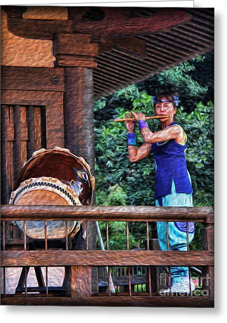 The Temple Flutist Greeting Card by Lee Dos Santos