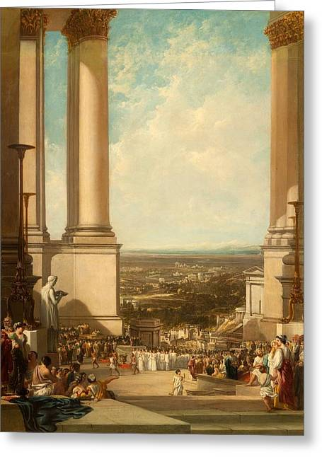 Greek Temple Greeting Cards - The Temple Of Aesculapius, 1837 Greeting Card by Sir Augustus Wall Callcott
