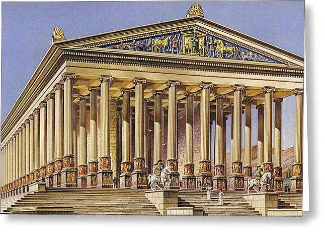 Artemis Greeting Cards - The Temple Of Artemis Colour Litho Greeting Card by English School