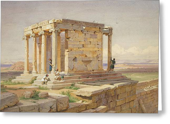 Temple Of Athena Greeting Cards - The Temple of Athena Nike. View from the North-East Greeting Card by Carl Werner