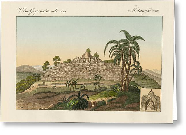 Architektur Drawings Greeting Cards - The temple of Buddha of Borobudur in Java Greeting Card by Splendid Art Prints