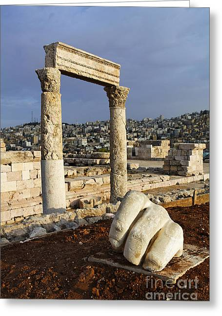 Jordan Photographs Greeting Cards - The Temple of Hercules and sculpture of a hand in the Citadel Amman Jordan Greeting Card by Robert Preston