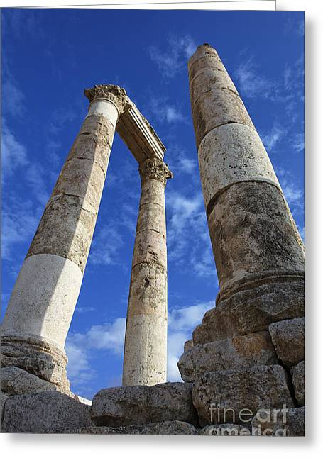 Jordan Photographs Greeting Cards - The Temple of Hercules in the Citadel Amman Jordan Greeting Card by Robert Preston