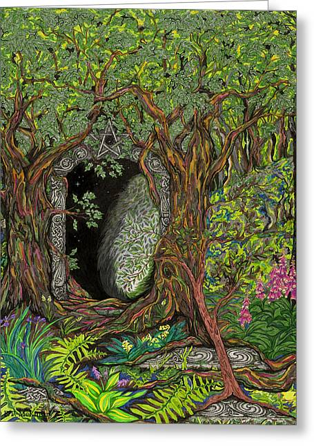 Ancient Ruins Drawings Greeting Cards - The Temple of Math Greeting Card by FT McKinstry